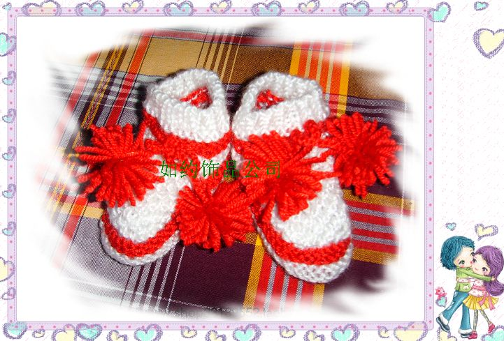 纯手工棒针钩针编织可爱宝宝婴儿鞋